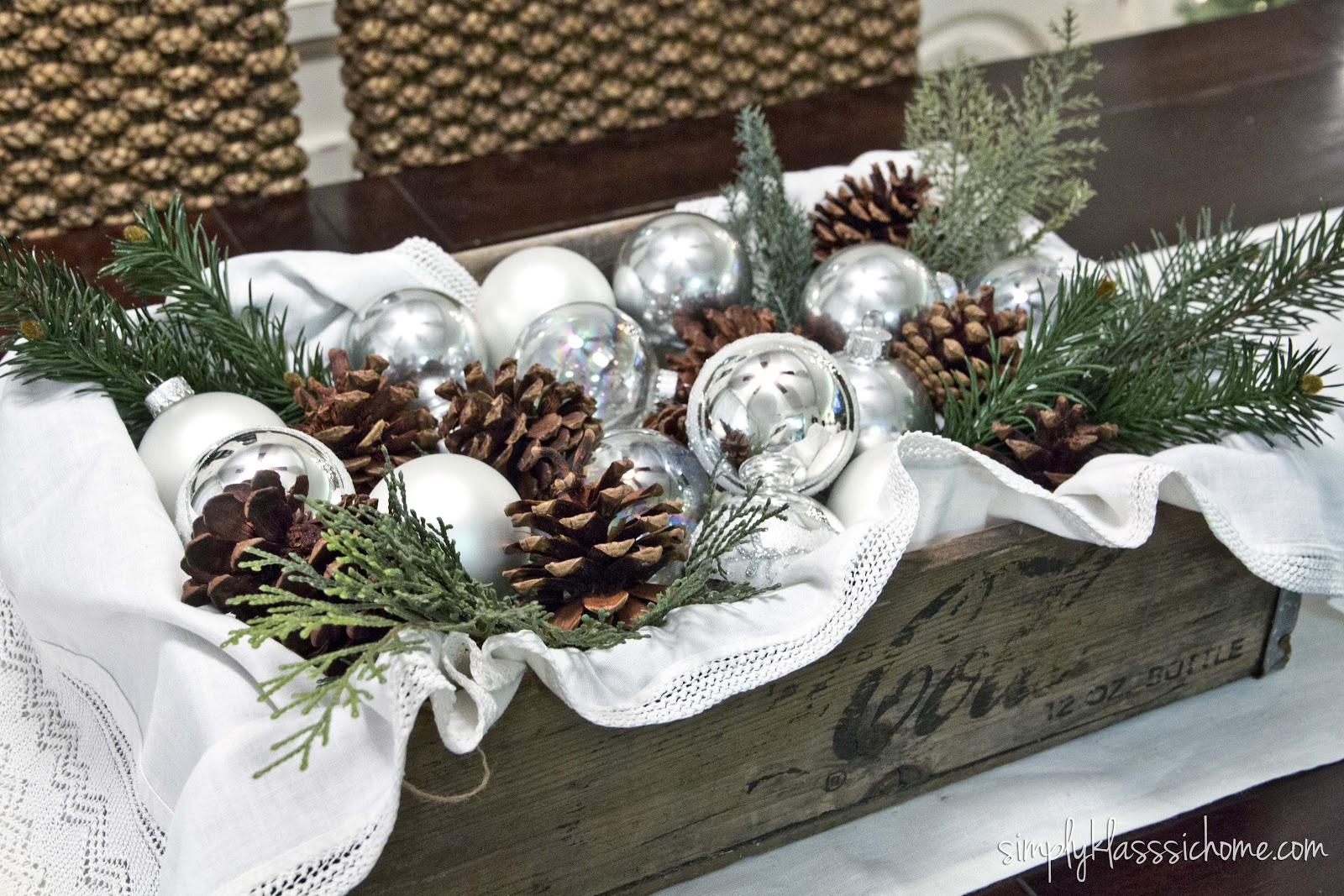 rustic glam christmas centerpiece