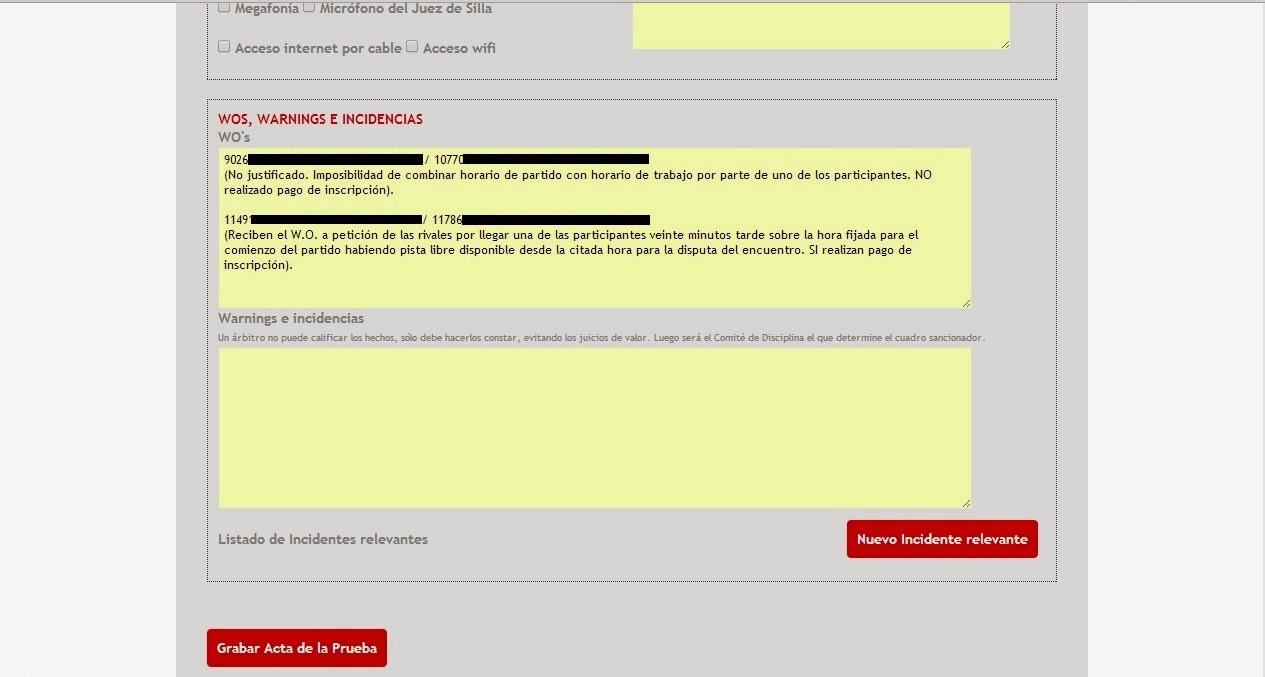Captura de pantalla mostrando el Acta Arbitral del Sistema de Gestión de la FEP.
