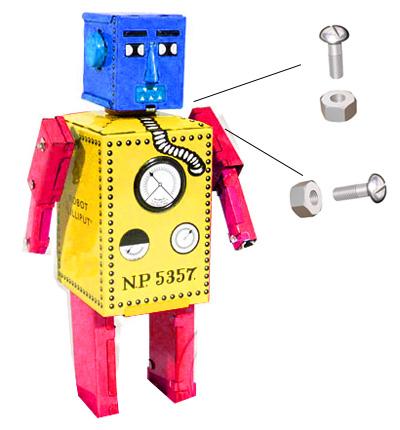 Un Robot Con Cajas De Carton Recicladas