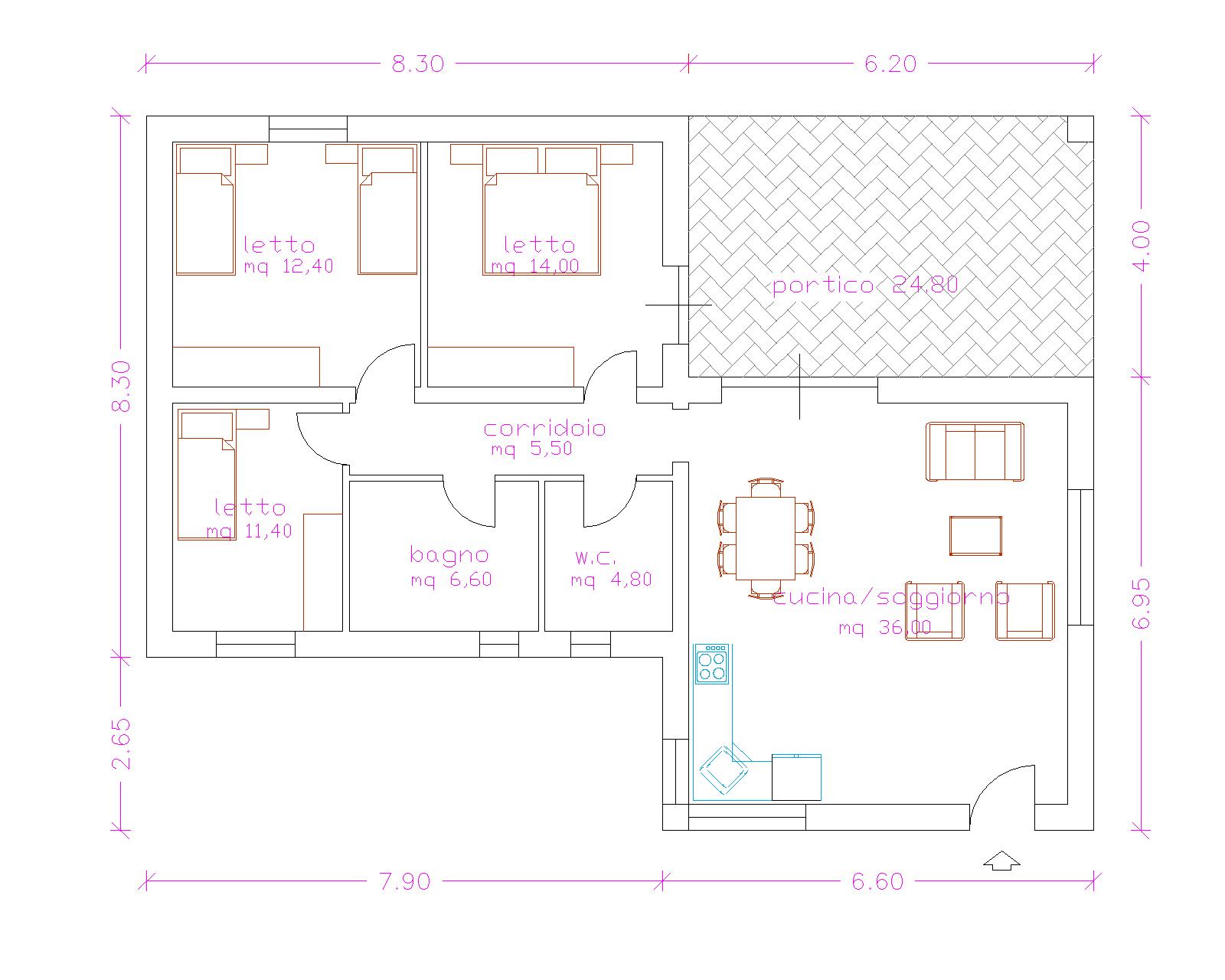 Progetti di case in legno casa 115 mq portico 25 mq - Progetto casa 40 mq ...