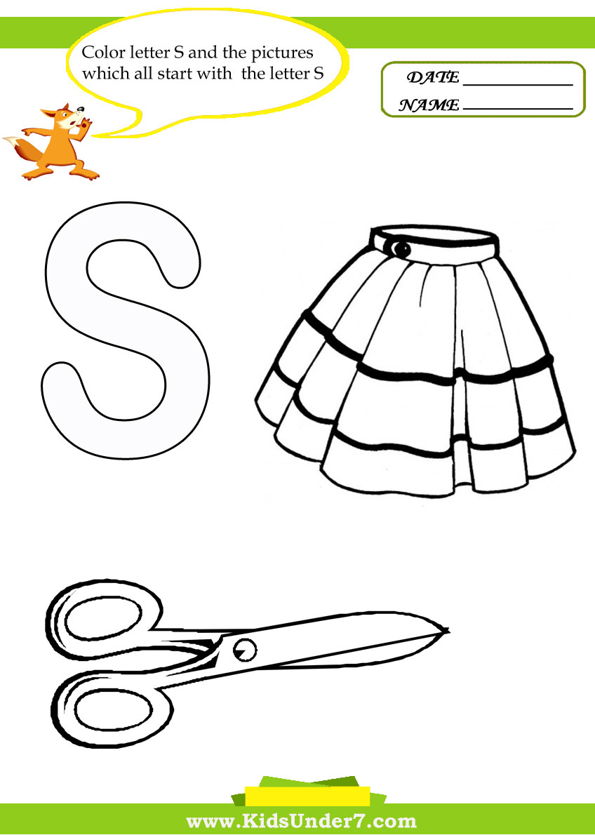 Kids Under 7 Letter S Worksheets and Coloring Pages – Letter S Worksheets Kindergarten