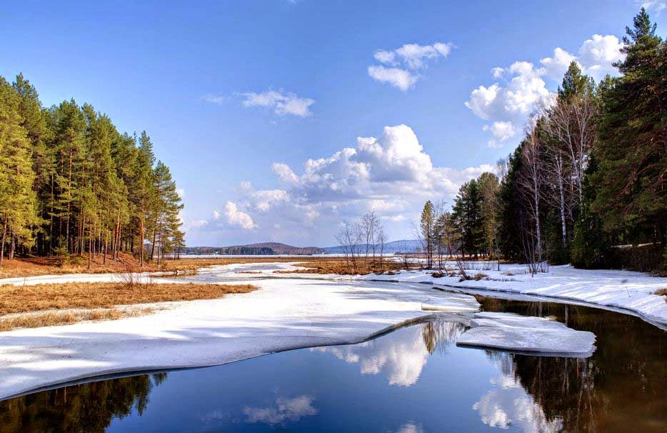 Natural Winter Pond Lake Snow Water Trees Clouds