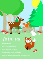 woodland animals, critters, birthday party invitation, fox, deer, fawn, rabbit, squirell, acorn