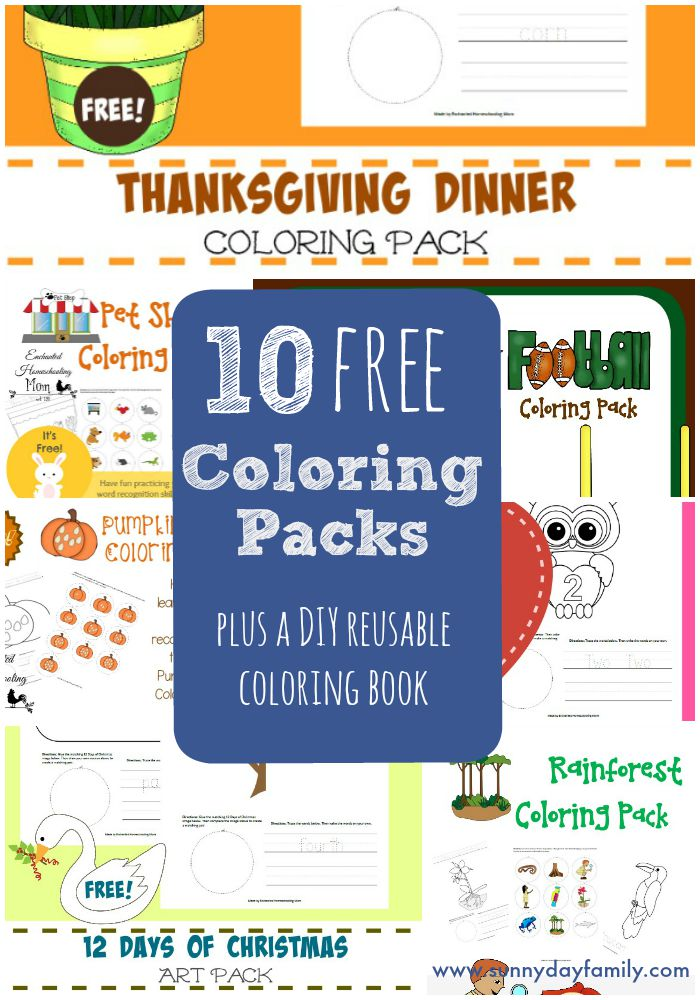 10 Free Coloring Packs including Fall themes and holidays! Plus see how to make a DIY reusable coloring book.