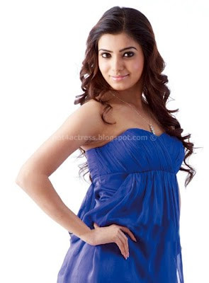 Samantha hot in blue dress photos