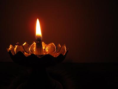 Indian Ornate Oil Lamp