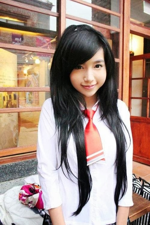 Elly Tran Ha -with beautiful cute school uniforms