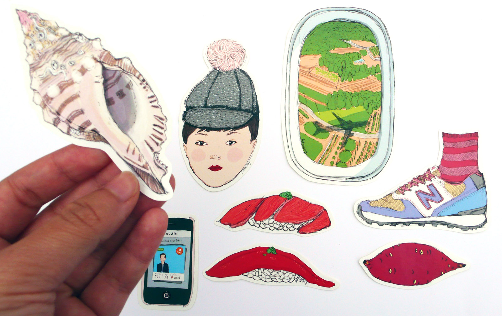 Kitty N. Wong / 5 Days in Tokyo Illustrated Sticker Set