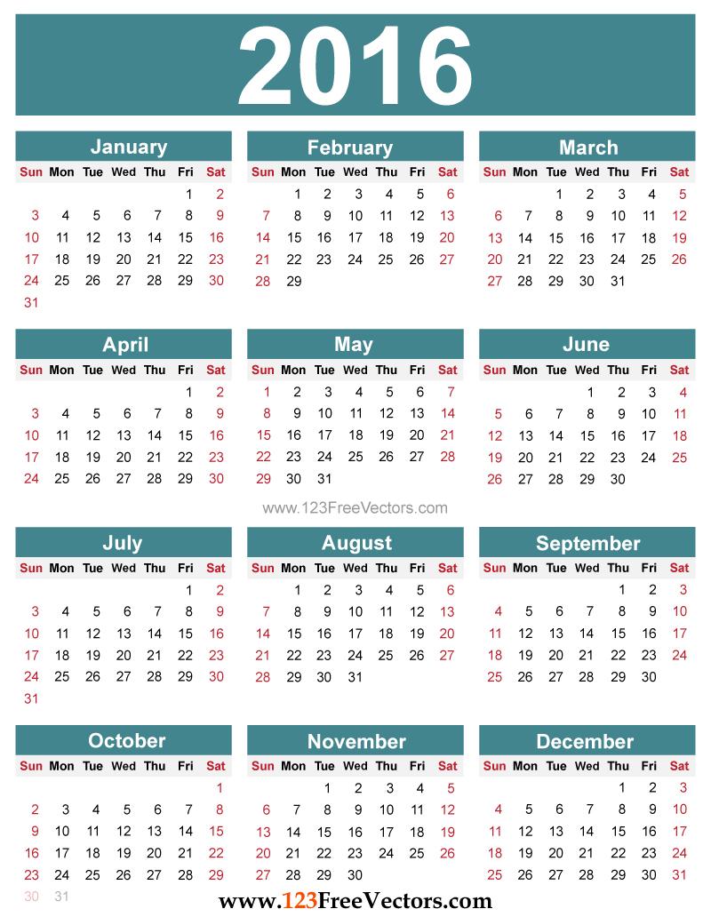 kalendar 2016 to print 2016.