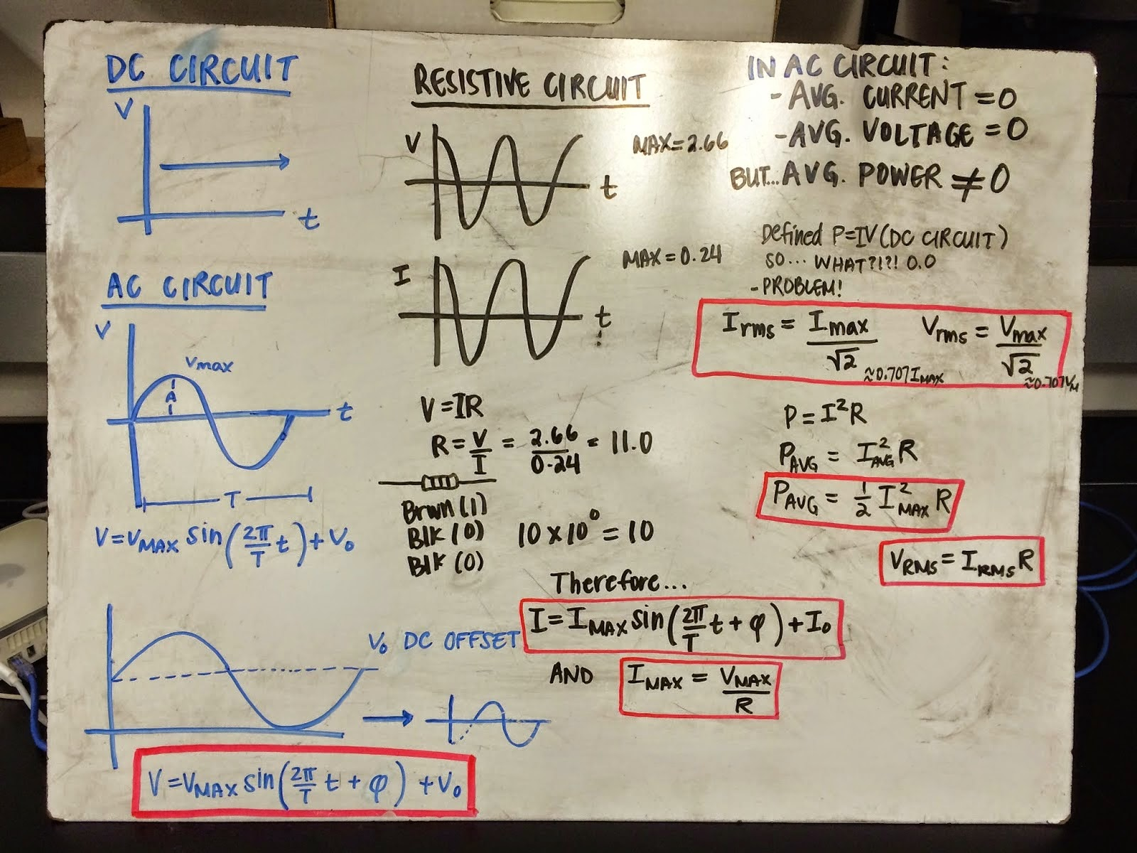 Day24 Ac Physics 4b Jchi Resistors In Series And Parallel Until The Circuit Is When Looking At A Resistor An Alternating Was Hooked Up To Function Generator Current Meter Attached