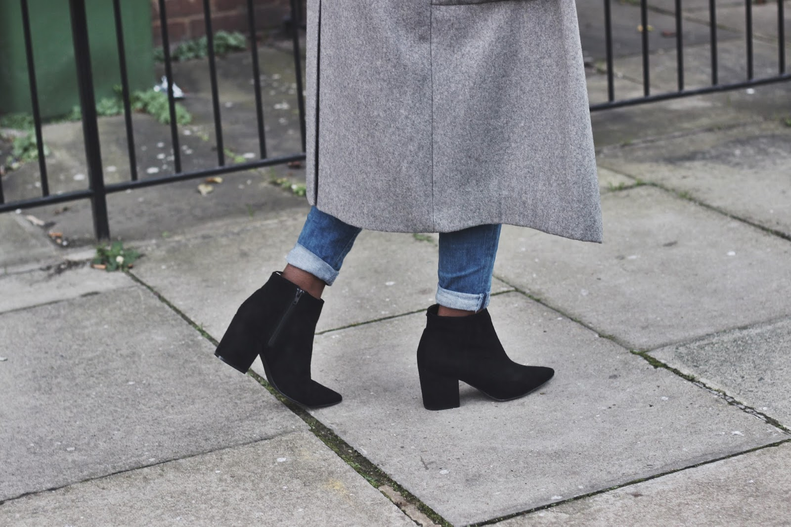 Black suede pointed heeled ankle boots