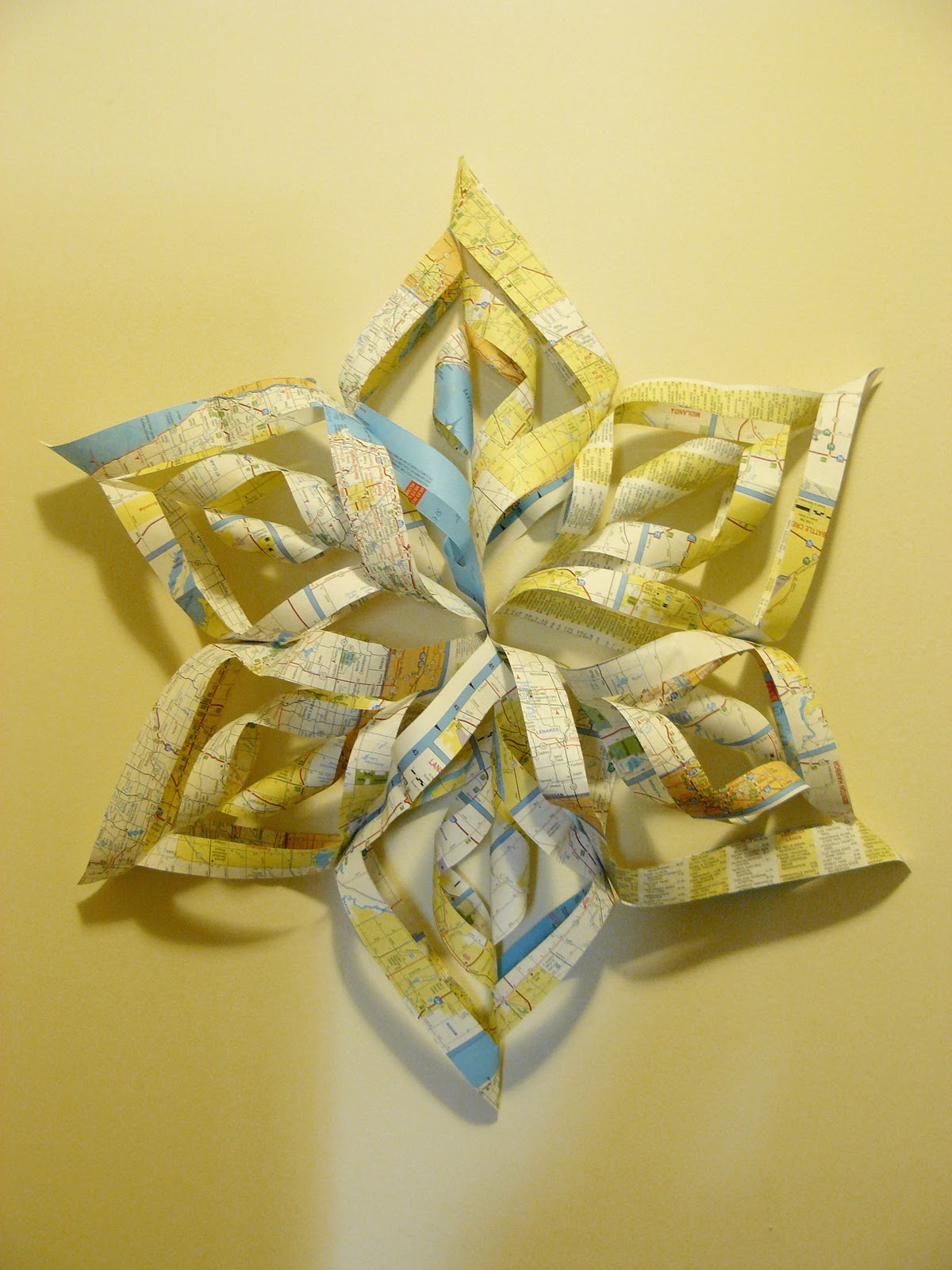 The Woven Home: Craft Projects: Map Wall Art and Fabric Flower Necklace