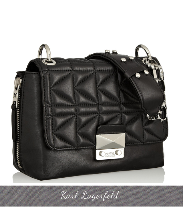 Karl Lagerfeld Quilted Lambskin shoulder bag with chain strap