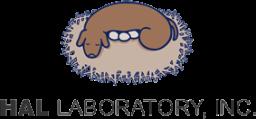 Logo HAL Laboratory Inc. muestra a un perro incubando tres huevos