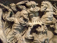 Roman Sarcophagus with Battle Scene Antonine Period 2nd century CE Marble (13)  Photographed at the Dallas Museum of Art in Dallas, Texas.