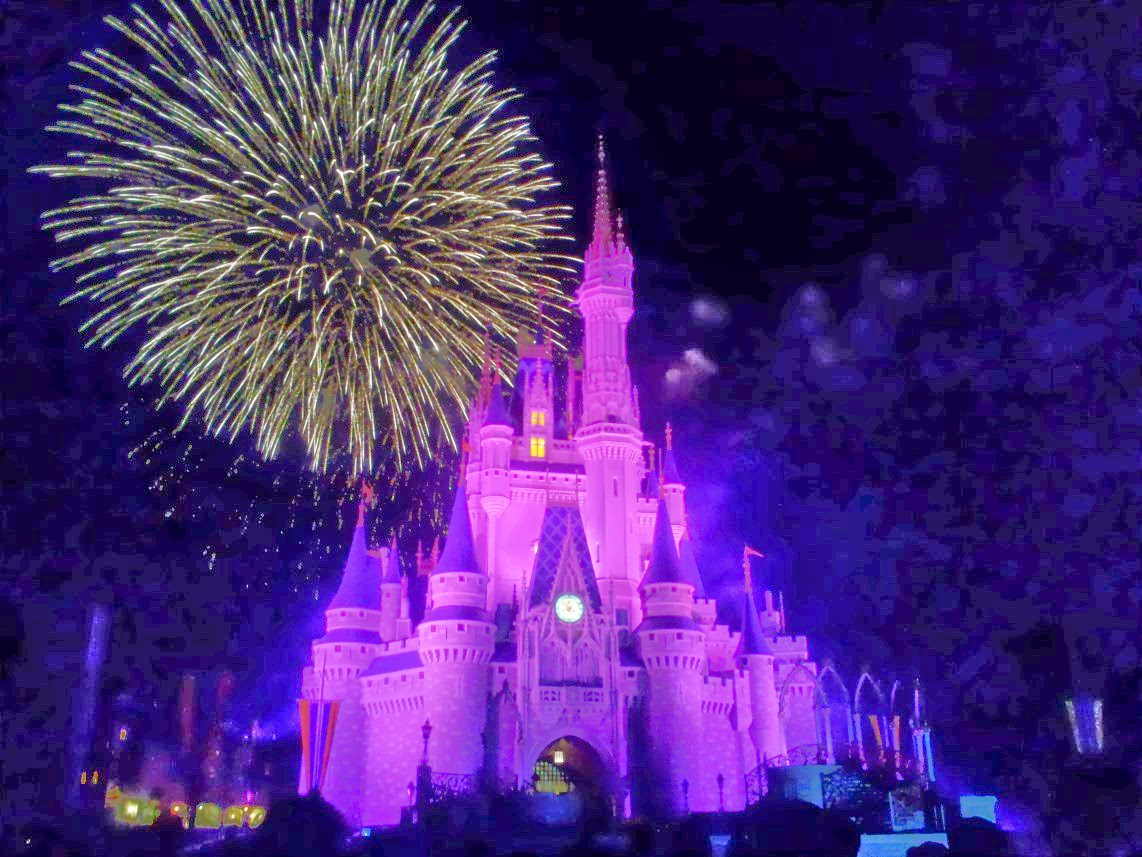 Fireworks over the Cinderella castle at Disney World.
