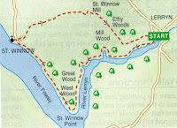 Map of walk from Lerryn, Cornwall