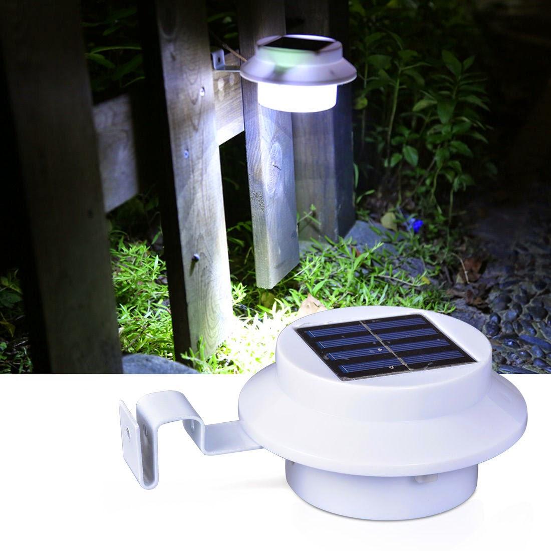 3LED Solar Power Spot Light Floodlight Garden Auto Sensor Gutter Lamp+AA Battery