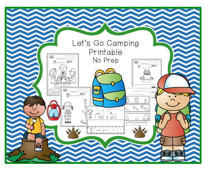 Let's Go Camping Printable No Prep