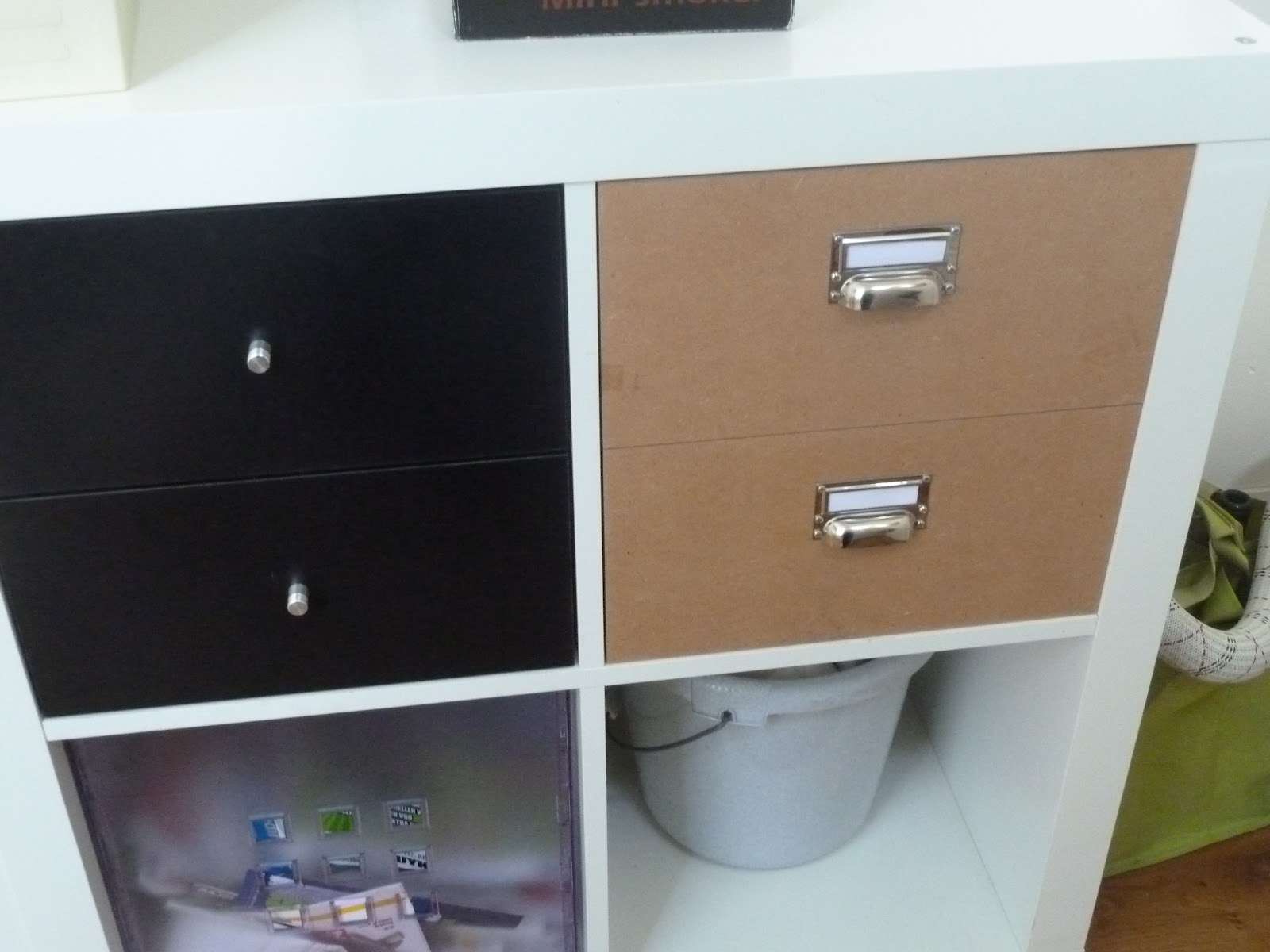 The completed drawers (right) with Ikea drawers (left)