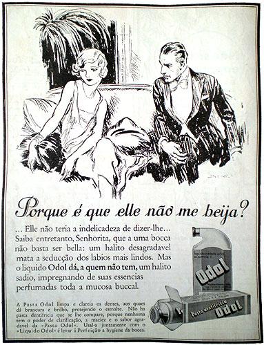 Combate ao mau hálito na década de 30. Propaganda do Odol.
