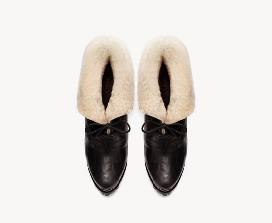Zara sheepskin platform ankle boot
