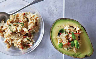 Crab-stuffed avocadoes