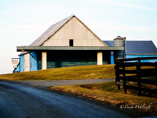 barn painted blue