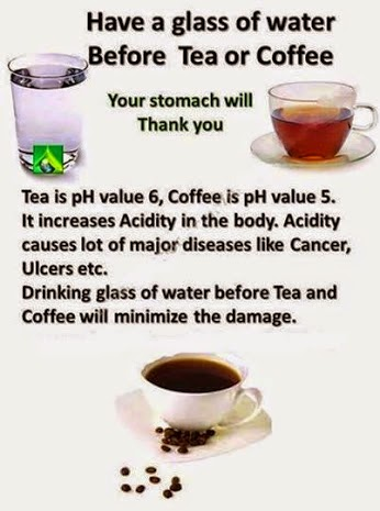 Have a one glass of water before the tea and coffee