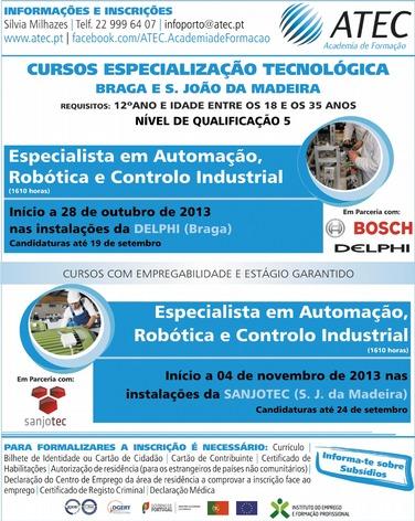 Cursos de especialização tecnológica nível 5 em Braga e São João da Madeira (com empregabilidade e estágio garantido)