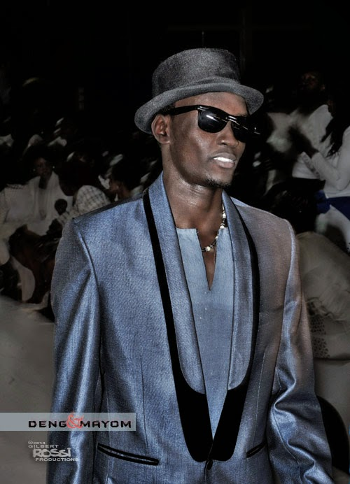 mens Fashion on the runway shot by Fashion photographer Gilbert Rossi, black models wearing evening wear, the ray charles look on the runway