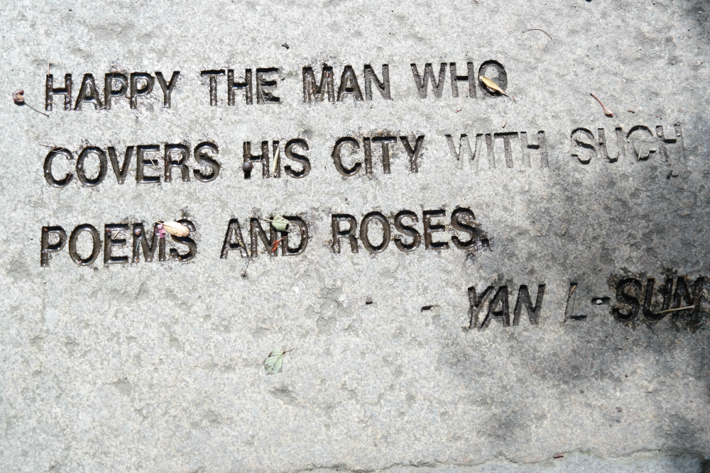 Happy the man who covers his city with such poems and roses.