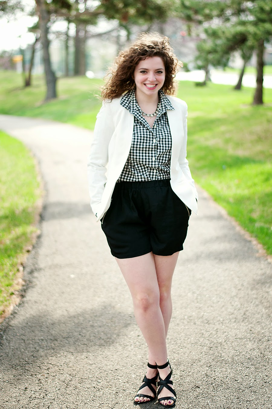Shorts with blazer and gingham top for spring