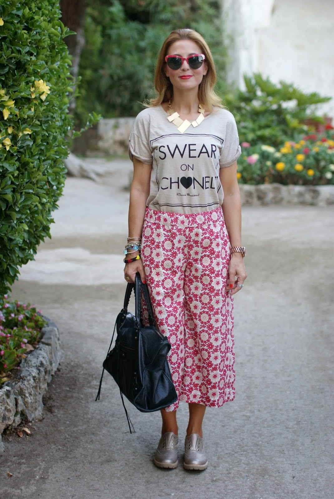Swear on Chanel t-shirt, platinum oxfords, Spitfire sunglasses, Balenciaga work bag, crochet culottes pants, Fashion and Cookies, fashion blogger