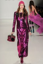 purple, sequin dress, long, sparkly dress, new york fashion week,