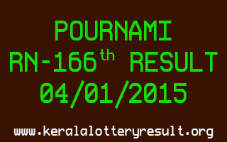 POURNAMI Lottery RN-166 Result 04-01-2015