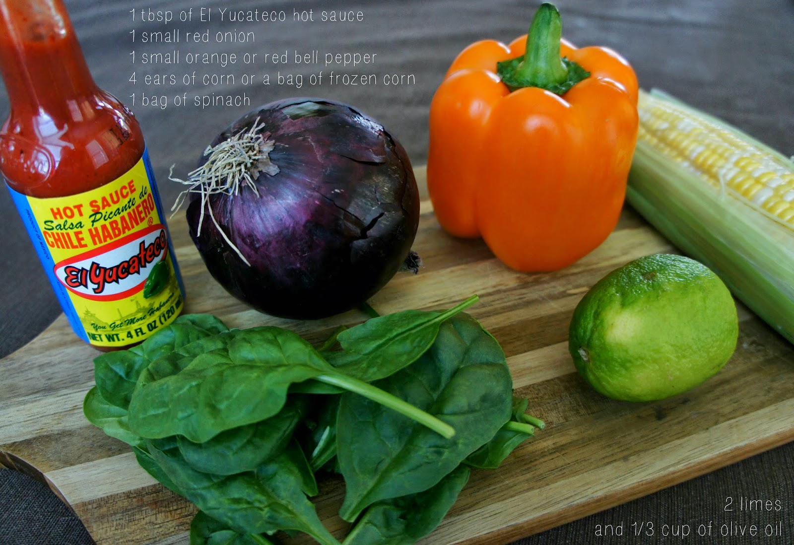 Spinach Corn Salad with El Yucateco Hot Sauce #SauceOn #CollectiveBias #shop