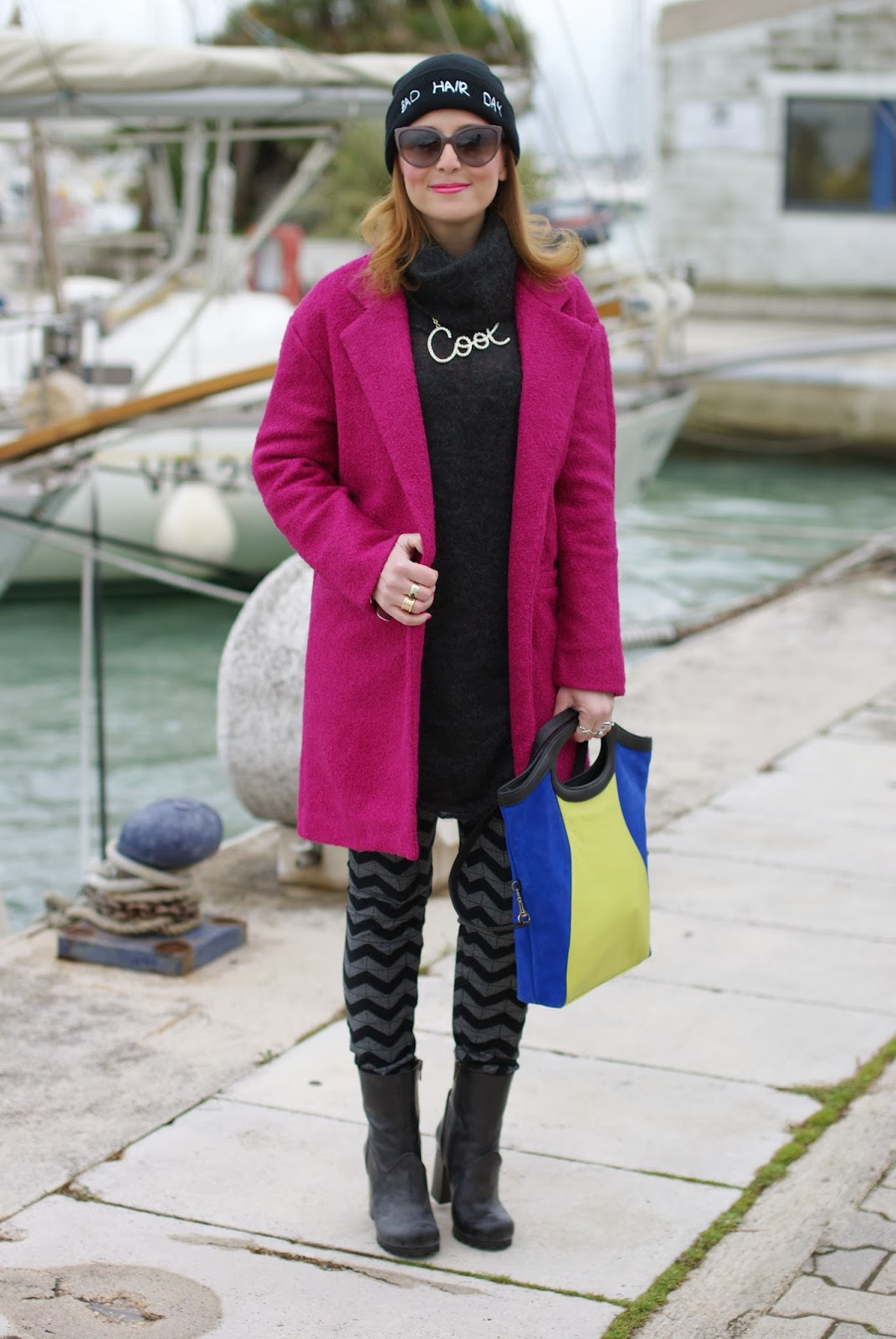 persunmall fuchsia coat, color block bag,  chevron leggings, Fashion and Cookies, fashion blogger