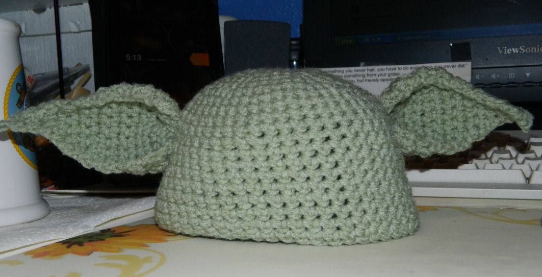 Crochet Yoda Pattern : Crocheted Yoda Hat/Cap