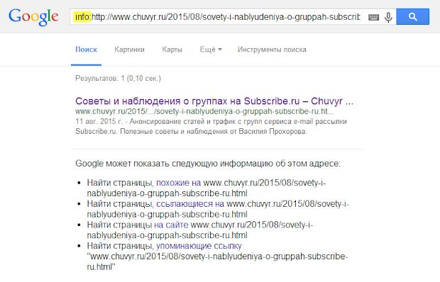 Проверка индексации страниц в Google поиск