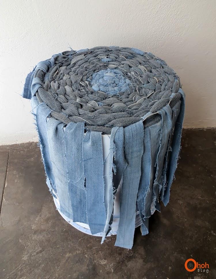 Как делать корзины из старых джинсов