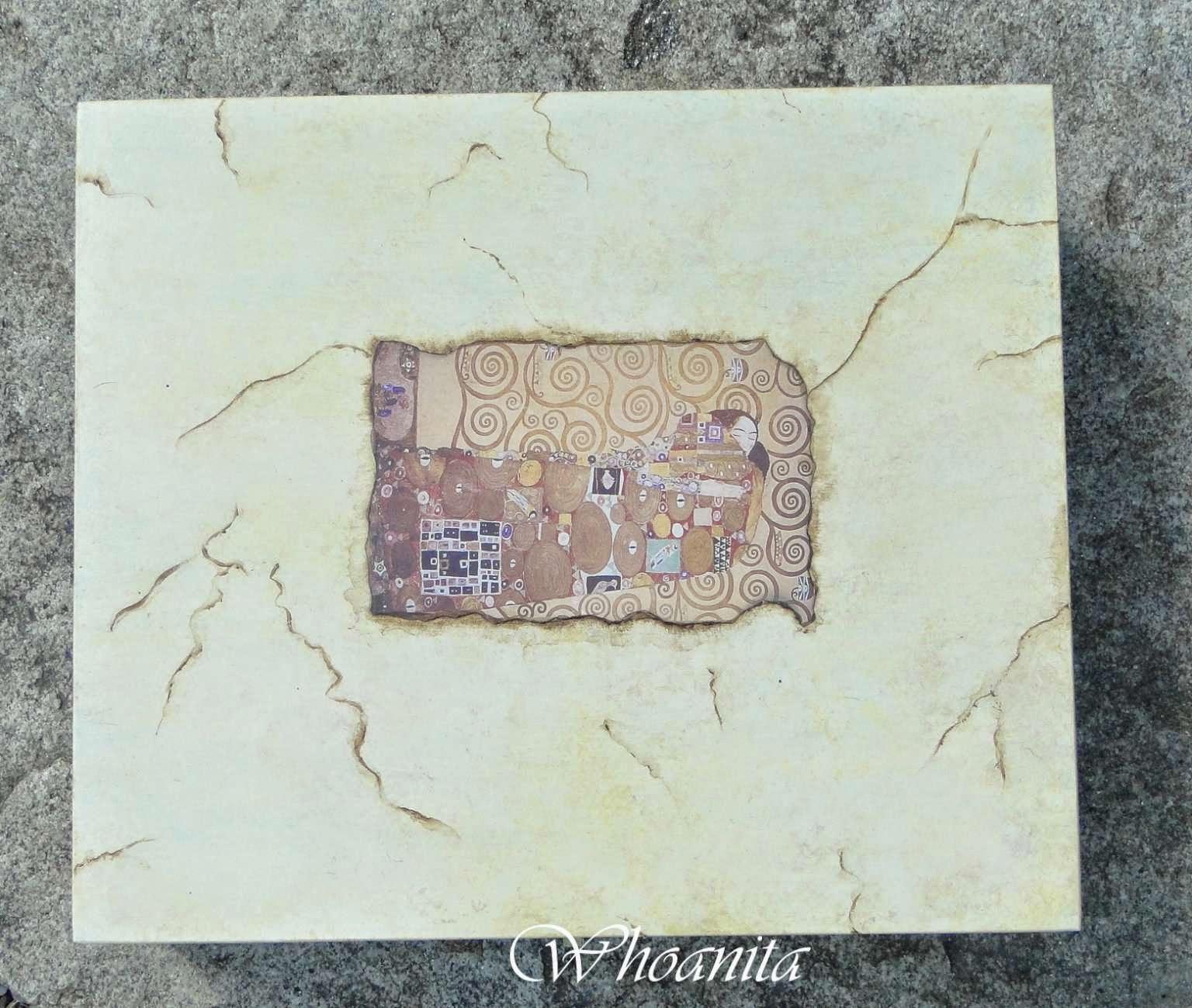 Skrzynia a la marmur, decoupage, Gustaw Klimt