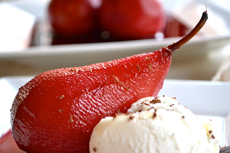 Poached Pears in Red Wine - Mother Thyme