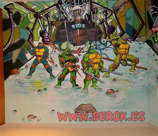 Graffiti mural infantil Tortugas Ninja en habitación