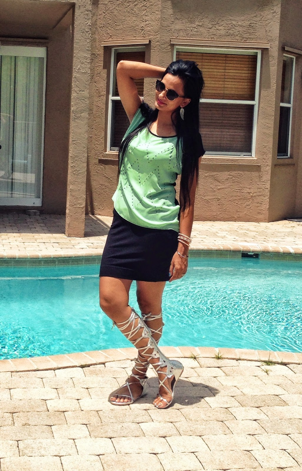 ootd Mint Green Blouse black skirt strappy gladiator sandals www.sandysandhu.co