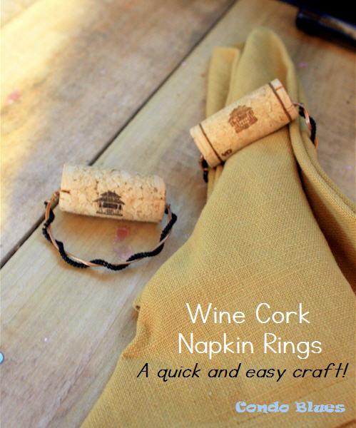 Condo blues how to make wine cork napkin rings recycled copper beaded wine cork napkin rings solutioingenieria Gallery