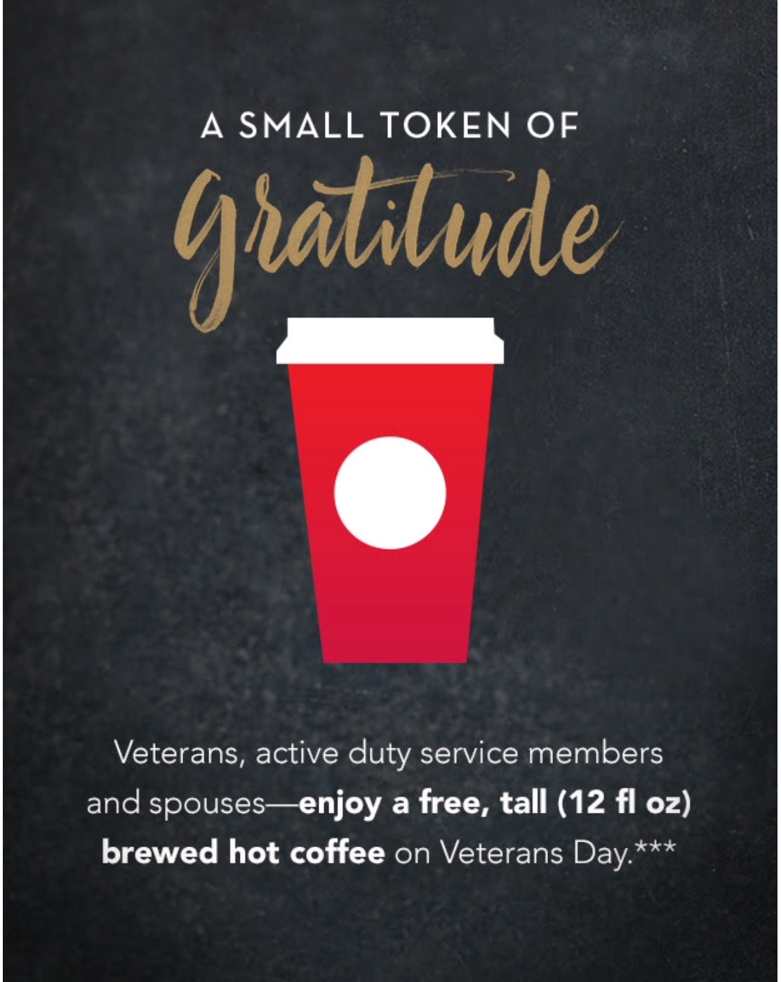 Starbucks Free Drink Veterans Day