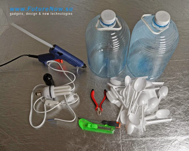 Materiales y herramientas para construir la lámpara de techo