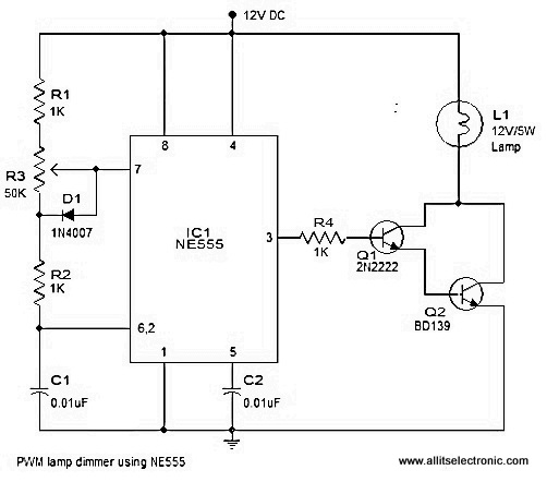 all its electronics pwm lamp dimmer using ne555 rh allitselectronics blogspot com Theatre Dimmer Lighting Diagram Multi Light with Dimmer Switch Diagram