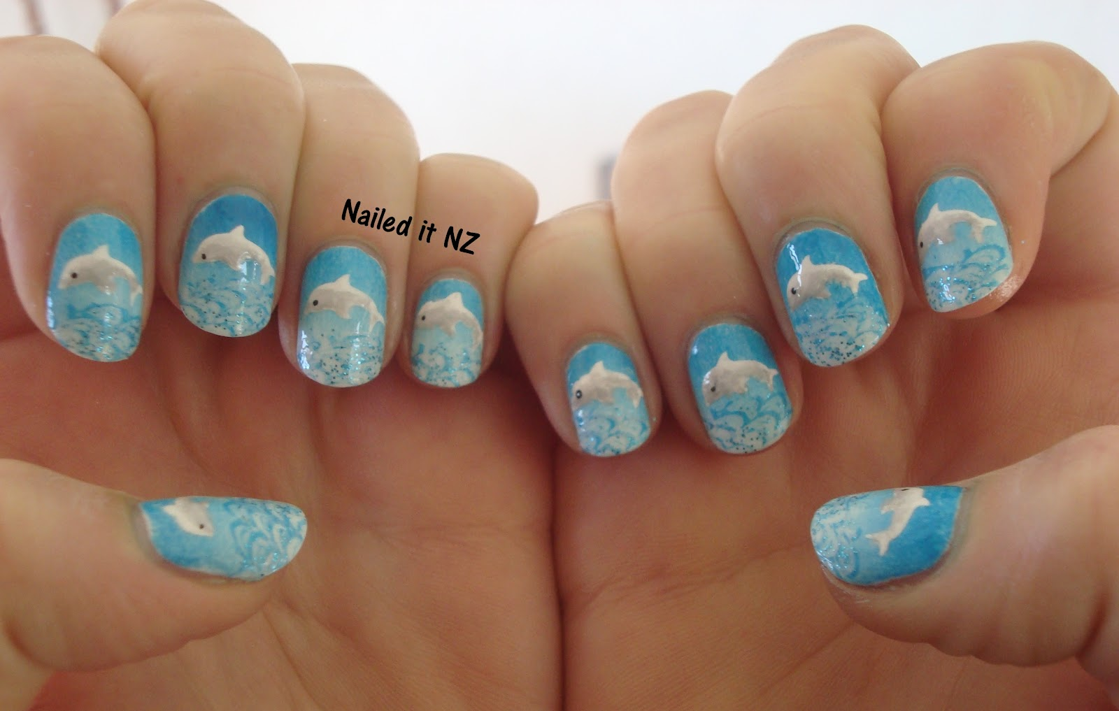 Dolphin nails with tutorial